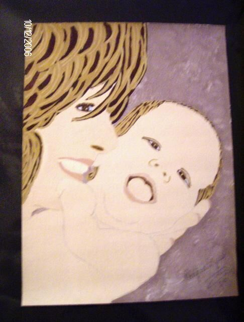 Mother and Child - Painting,  12x9 in ©2006 by Tonjua Lyles -            acrylic paintings, art for the soul