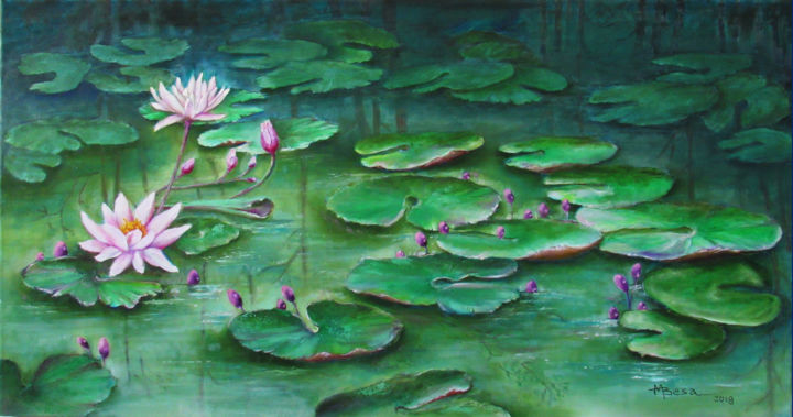 """Painting titled """"Serenity in the Pon…"""" by Miriam Besa, Original Art, Oil"""