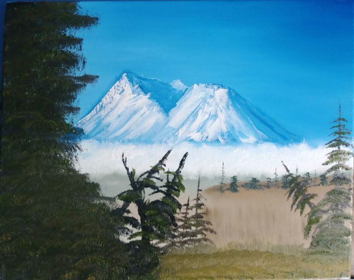 """Painting titled """"Shasta Fog From Lav…"""" by Topher, Original Art, Oil"""