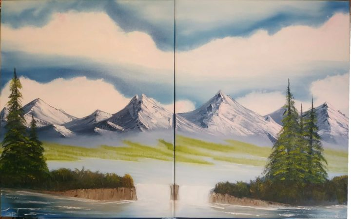 """Painting titled """"Distant Pair"""" by Topher, Original Art, Oil"""