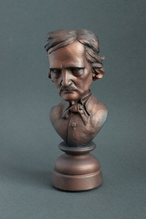 Edgar Allan Poe bust sculpture art figure - Sculpture,  5,9 in, ©2019 par totartstudio -                                                                                                                                                                                                                                                                                                                                              Plastique, Célébrité, Dark-Fantasy, Poe, Edgar Poe, Raven, Nevermore