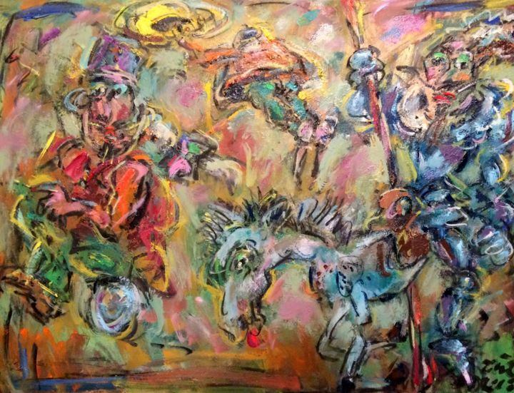 """Painting titled """"Don Quixote and bar…"""" by Erno Toth, Original Art, Oil"""