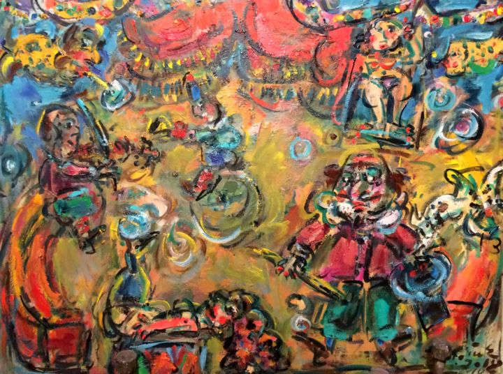 """Painting titled """"Circus / Cirque"""" by Erno Toth, Original Art, Oil"""