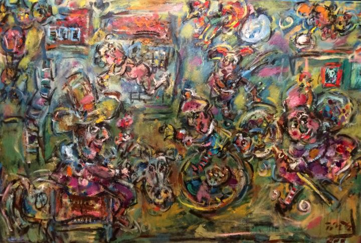 """Painting titled """"Clowns town / La vi…"""" by Erno Toth, Original Art, Oil"""