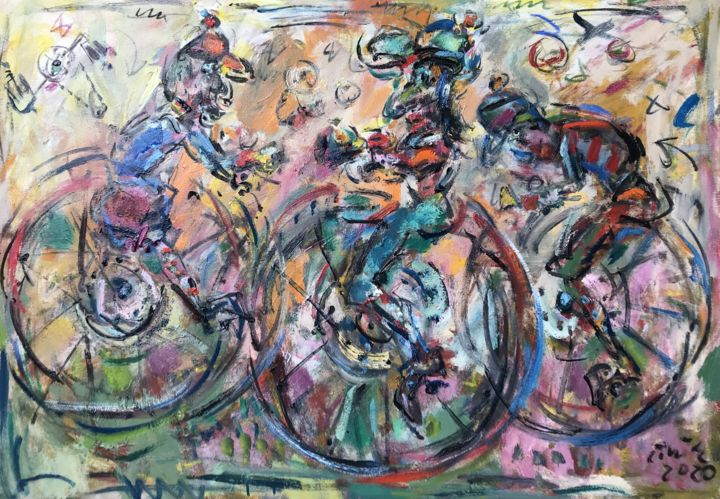 """Painting titled """"Crazy cyclists"""" by Erno Toth, Original Art, Oil"""
