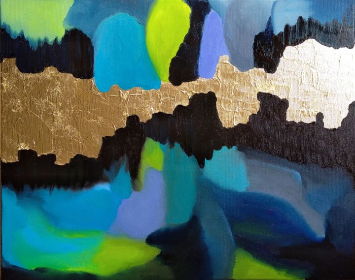 """Painting titled """"BLUE AND GOLD"""" by Monika Toth, Original Art, Oil"""