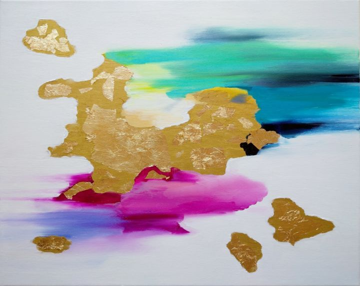 """Painting titled """"GOLDEN ISLAND"""" by Monika Toth, Original Art, Oil"""