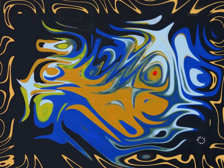 J'EXISTE - Digital Arts,  50x100x2.5 cm ©2015 by Daniel Toublanc -                                            Abstract Art, Abstract Art, toublanc, numérique, abstrait, toile, impression