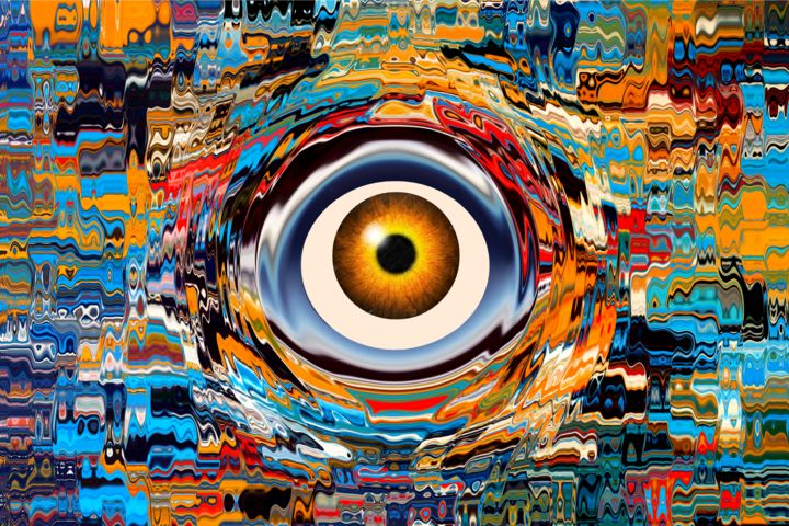 SURVEILLANCE - Digital Arts,  80x120x2 cm ©2016 by Daniel Toublanc -                                                            Abstract Art, Canvas, Fantasy, daniel toublanc, surveillance, oeuvre originale unique, print et acrylique