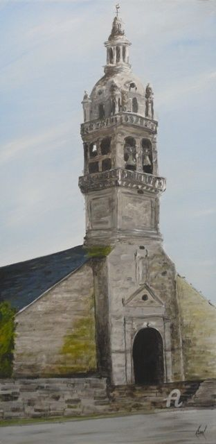 Eglise de Gourin - Painting,  39.4x19.7 in, ©2012 by Serge Toulgoat -                                                              Eglise de Gourin
