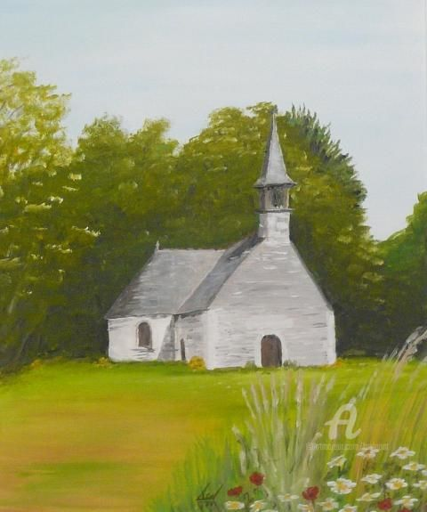 Chapelle Saint-Philibert - Painting,  21.7x18.1 in, ©2012 by Serge Toulgoat -
