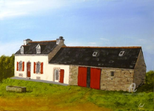 maison (commande) - Painting,  13x18.1 in, ©2013 by Serge Toulgoat -
