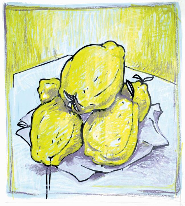 Coings jaunes - Painting,  21.7x21.7x1.6 in, ©2019 by TOUMIRE -                                                                                                                                                                                                                                                                                                                                                                                                          Figurative, figurative-594, Still life, Coing, nature, encre, craies, jaune