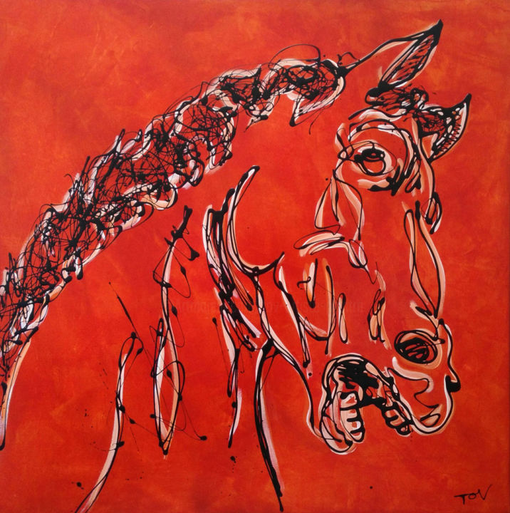 Surpris - Painting,  39.4x39.4x1.4 in ©2018 by TOV -                                                        Figurative Art, Expressionism, Animals, tête de cheval, huile sur toile, ocre rouge, 100x100cm, dripping