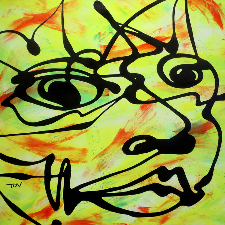 Hello! - Painting,  39.4x39.4x1.2 in, ©2020 by TOV -                                                                                                                                                                                                                                                                                                                                                                                                                                                      Expressionism, expressionism-591, Graffiti, Portraits, visage souriant, couleurs vives, lignes noires, tov artiste peintre strasbourg, dripping