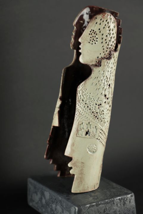 """Sculpture titled """"Step-by-step couple"""" by Katalin Tovolgyi, Original Art, Ceramics"""