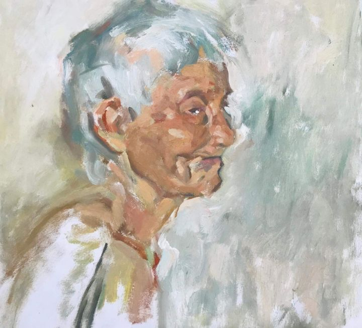 """Painting titled """"My Grandfather"""" by Trần Huyền, Original Art, Oil"""
