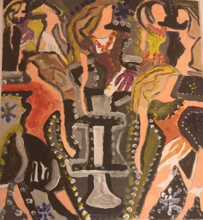 Unity.jpeg - Painting,  10x10x1 in ©2011 by Tracie Lauren -                                                                                                                                    Abstract Expressionism, Cubism, Illustration, Symbolism, Other, Abstract Art, Fashion, People, Women, Gemini, Twins, Astrological, Symbols, Dual Personality, Nightclub, Dancing, Crowd, Fountain