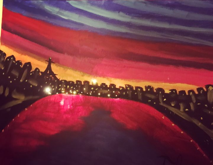 City Of Lights.jpeg - Painting,  16x20x1 in ©2018 by Tracie Lauren -                                                                                                                                                                                                                                                Abstract Expressionism, Classicism, Contemporary painting, Impressionism, Land Art, Photorealism, Canvas, Abstract Art, Agriculture, Cities, Cityscape, Culture, Landscape, Light, Love / Romance, Places, Travel, World Culture, Paris, City, Cityscape, Lights, Sunset, Landscape, Places, Classic, Travel, Love/Romance, Eiffel Tower