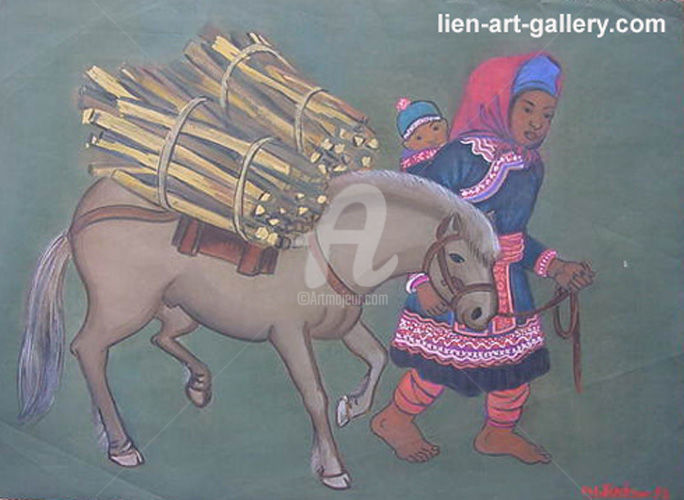 """Painting titled """"silk painting Nguye…"""" by Tran Dinh Khuong, Original Art, Watercolor"""
