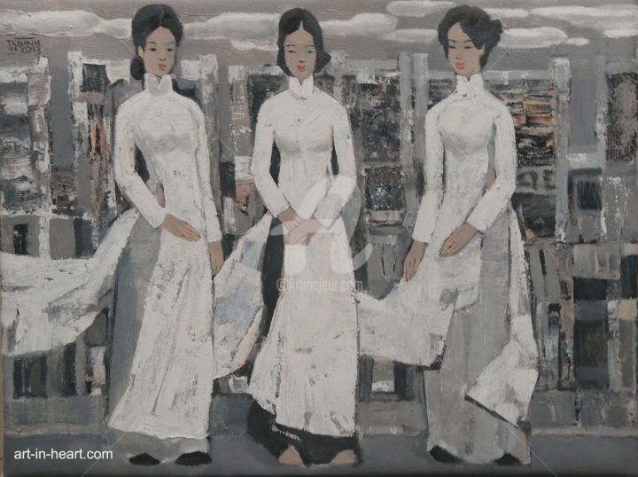 """Painting titled """"Hanoi girl and stre…"""" by Tran Xuan Binh, Original Art, Oil"""
