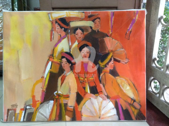 """Painting titled """"Young girls in fest…"""" by Tran Xuan Binh, Original Art, Oil"""