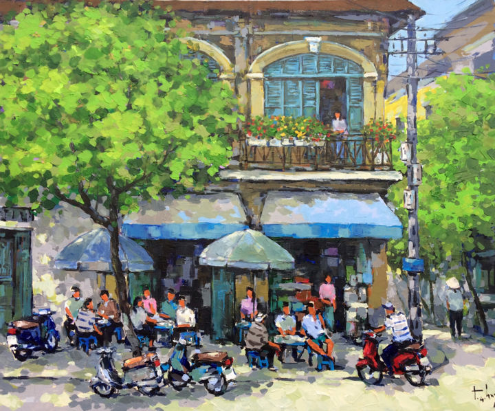 """Painting titled """"Street cafe shop in…"""" by Anh Huy Tran, Original Art, Acrylic"""