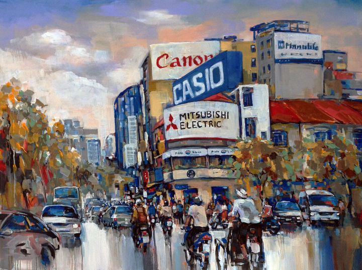 """Painting titled """"Saigon after the ra…"""" by Anh Huy Tran, Original Art, Acrylic"""