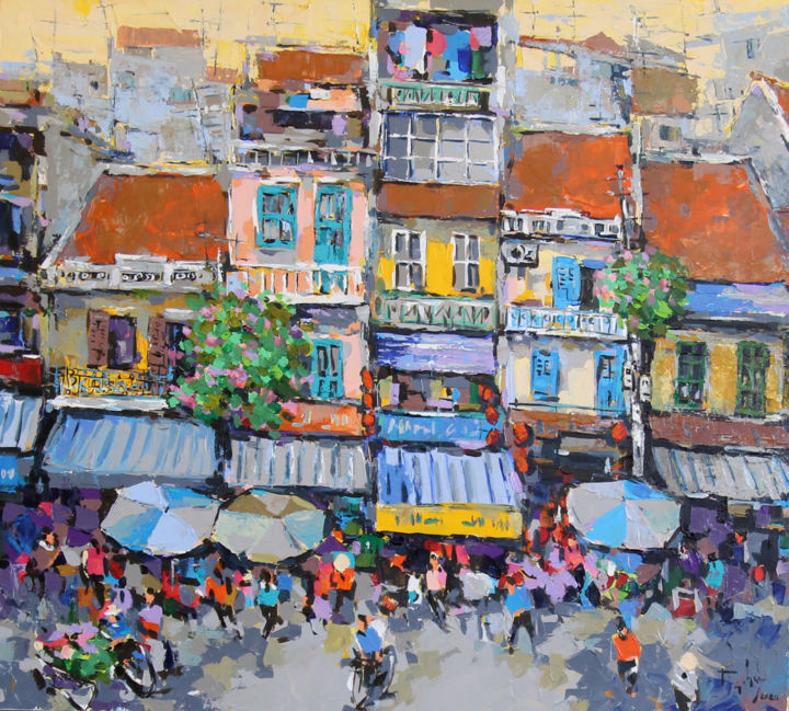 """Painting titled """"Afternoon Street"""" by Anh Huy Tran, Original Art, Acrylic"""