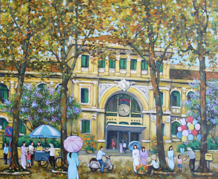 """Painting titled """"Post office on week…"""" by Anh Huy Tran, Original Art, Acrylic"""