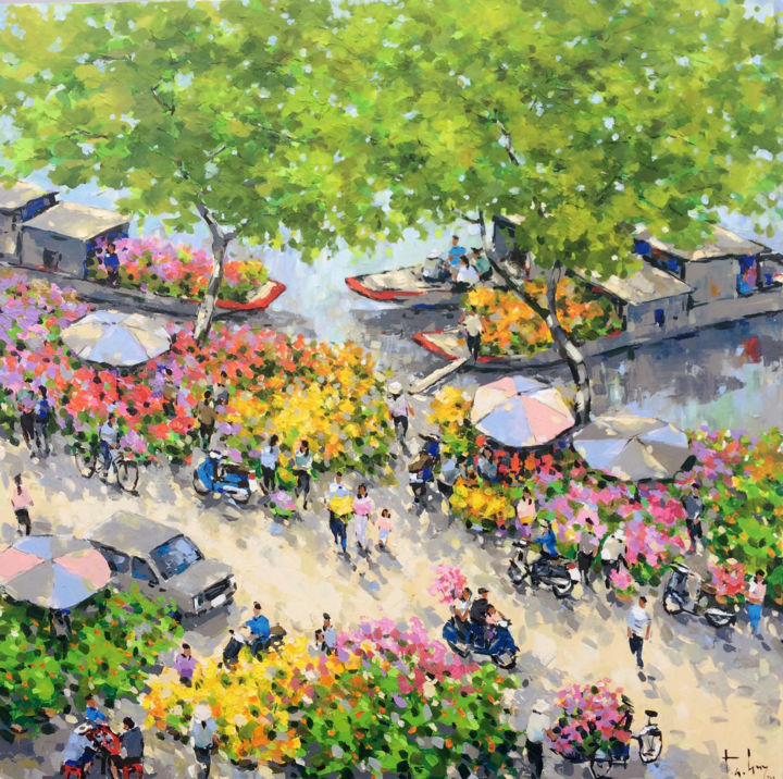 """Painting titled """"Binh Dong pier in S…"""" by Anh Huy Tran, Original Art, Acrylic"""