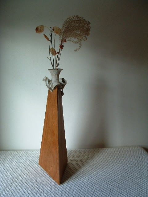 Tall Vase #1 - Sculpture,  7 in, ©2007 by Diane Tremaine -                                                                                                          Ceramic, Wood