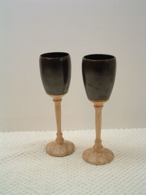 Pair of Chalices #85 - Sculpture,  2 in, ©2008 by Diane Tremaine -                                                                                                          Ceramic, Wood