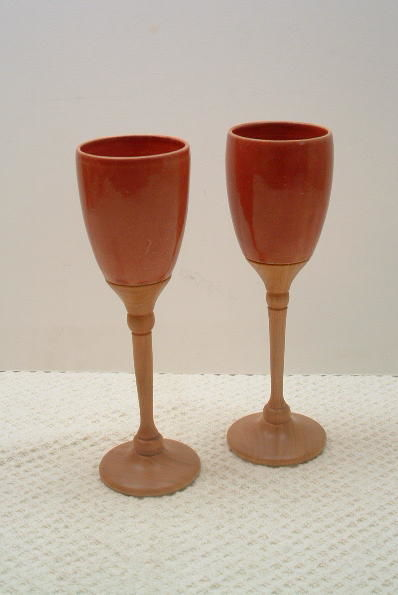 Pair of Chalices #86 - Sculpture,  9x3 in, ©2008 by Diane Tremaine -                                                                                                          Ceramic, Wood