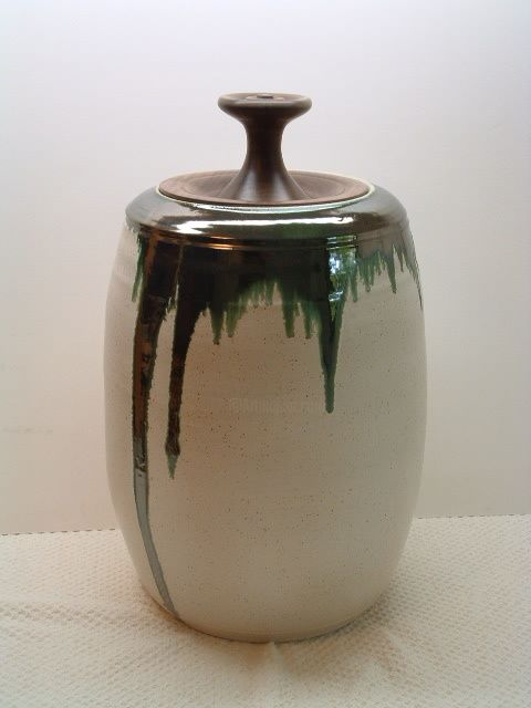 Large Covered Pot - Mixed Media,  22x12 in ©2008 by Diane Tremaine -                                    Ceramic, Wood