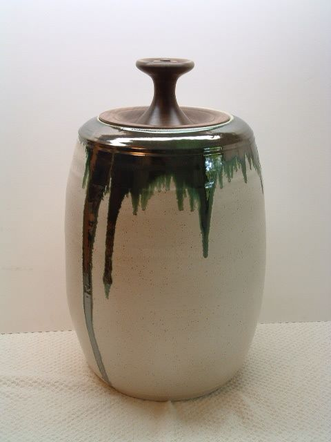 Large Covered Pot - Sculpture,  22x12 in, ©2008 by Diane Tremaine -                                                                                                          Ceramic, Wood