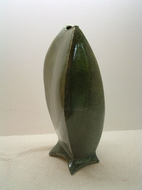 Tall Weed Pot - Sculpture,  23x9 in ©2008 by Diane Tremaine -                                        Abstract Art, Ceramic