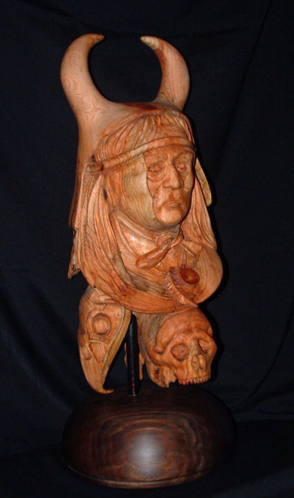 Bull Chief - Sculpture, ©2015 by Diane Tremaine -                                                              Wood