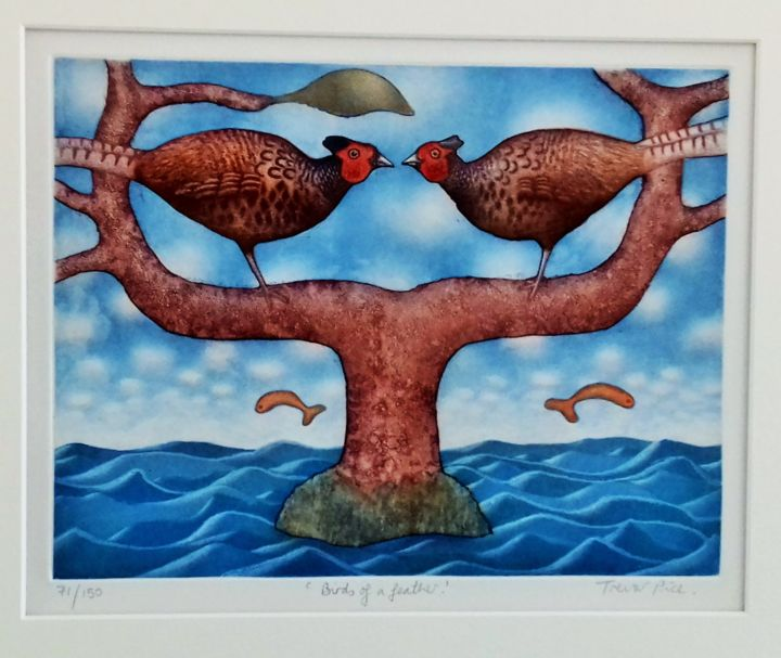 """Printmaking titled """"""""Birds of a Feather"""""""" by Trevor Price, Original Art, Lithography Mounted on Cardboard"""
