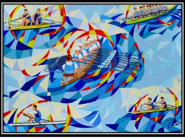 geste sportif - Painting,  15x18.1 in, ©2009 by Bernard Tridera -                                                                                                                          Abstract, abstract-570