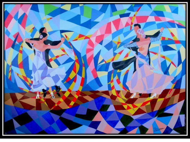 geste sportif - Painting,  28.7x36.2 in, ©2009 by Bernard Tridera -                                                                                                                          Abstract, abstract-570