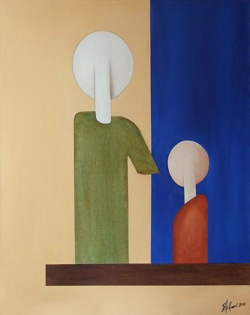 Father and son - Painting,  100x80 cm ©2011 by Alexander Trifonov -