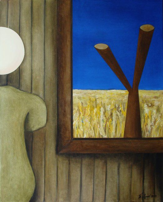 Window in the field - Painting,  80x100 cm ©2012 by Alexander Trifonov -                        Contemporary painting