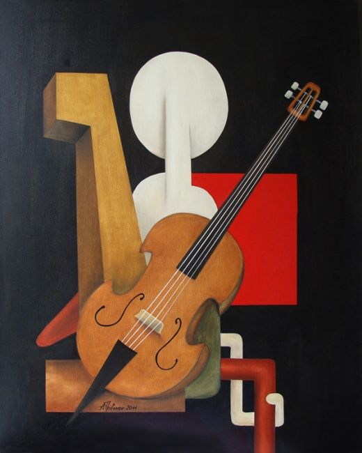 Violonchelisto - Painting,  80x100 cm ©2011 by Alexander Trifonov -                        Abstract Expressionism