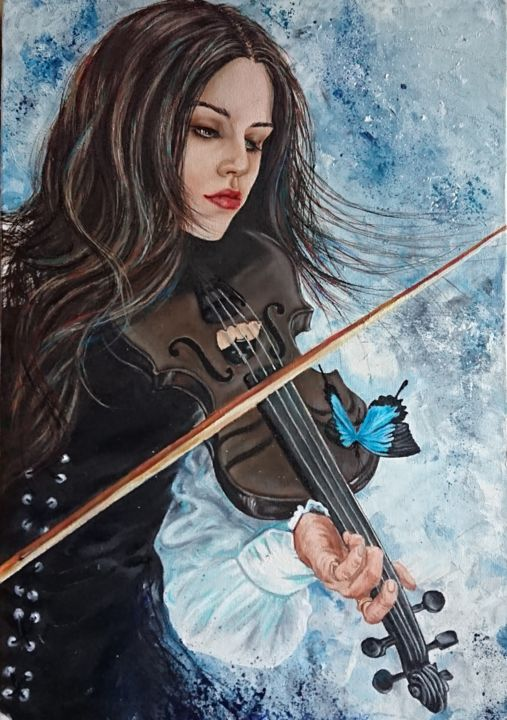 Violin Painting, oil, figurative, artwork by Katerina Evgenieva