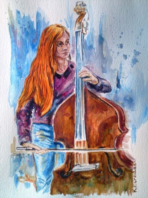 """Painting titled """"Woman with cello"""" by Katerina Evgenieva, Original Art,"""