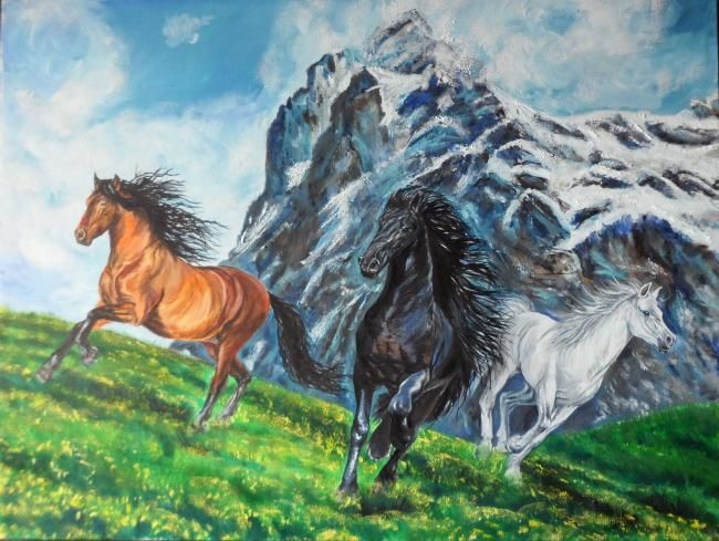 """Painting titled """"Horses in the mount…"""" by Katerina Evgenieva, Original Art,"""