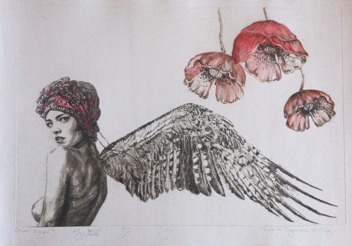 """Drawing titled """"Dream angel 4"""" by Katerina Evgenieva, Original Art, Other"""