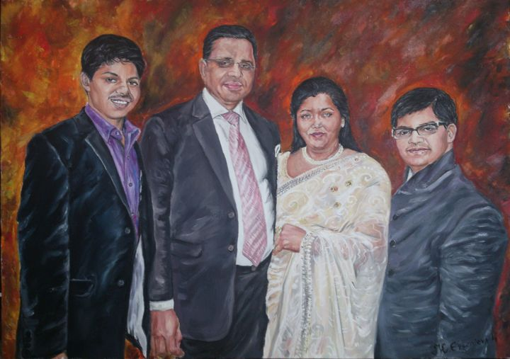 """Painting titled """"Indian family"""" by Katerina Evgenieva, Original Art, Oil"""
