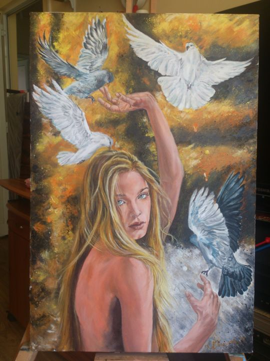"""Painting titled """"Girl from heaven"""" by Katerina Evgenieva, Original Art, Oil"""